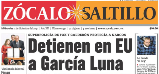 Detienen en EU a García Luna red es poder zócalo