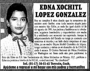 Ineficacia e injusticia: 29 años de la desaparición de Edna Xóchitl red es poder
