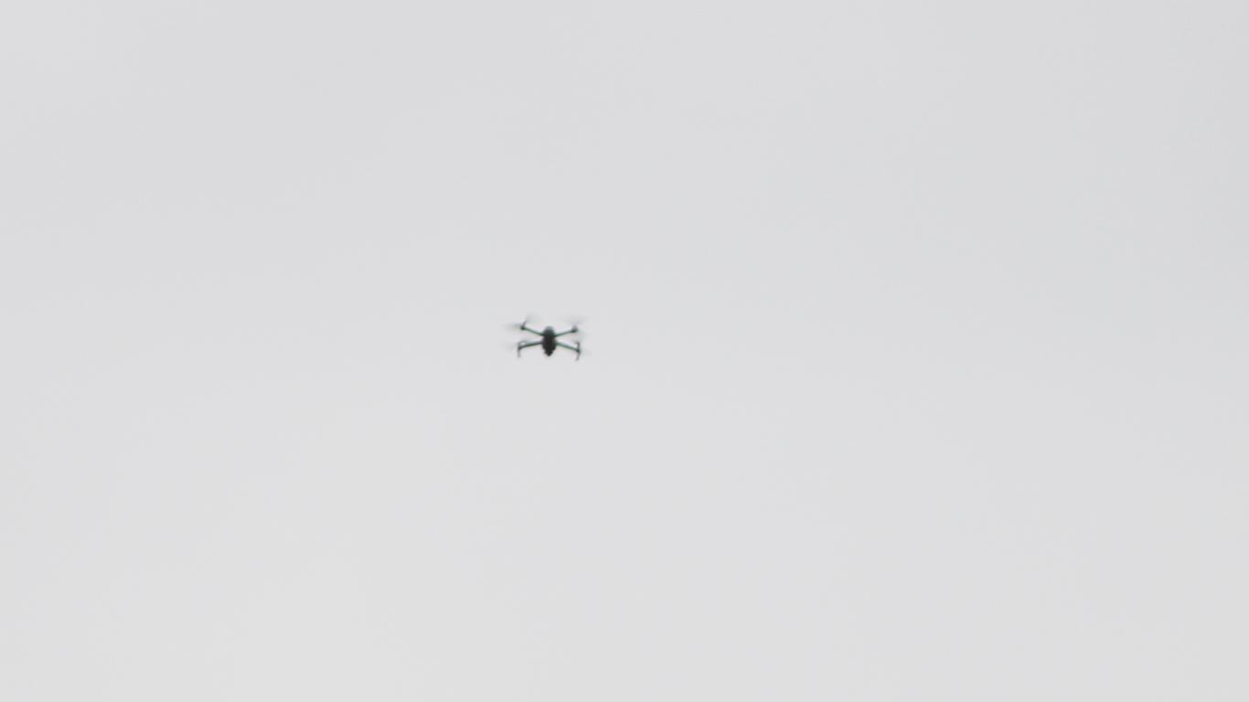 dron en plantón protesta