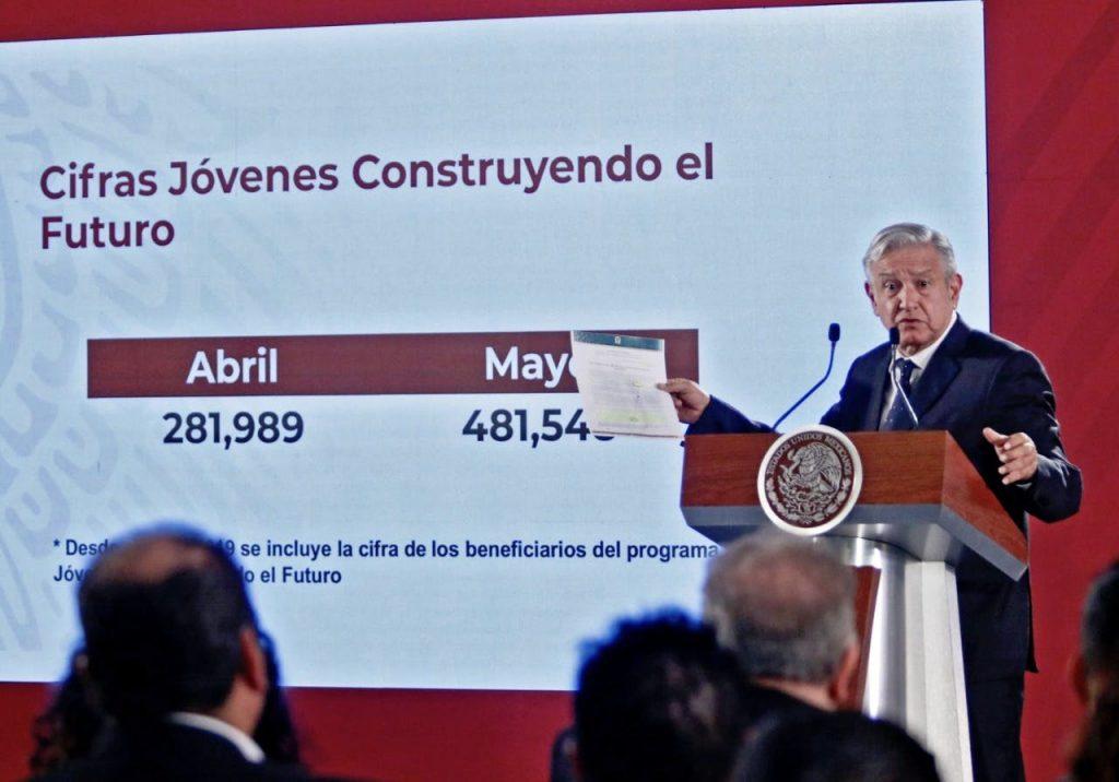 """El presidente Andrés Manuel López Obrador informó que había más de 481 mil jóvenes inscritos en el programa """"Jóvenes Contruyendo el Futuro"""" en una conferencia de prensa realizada en junio de 2019. Foto: Tomás Martínez / El Norte"""