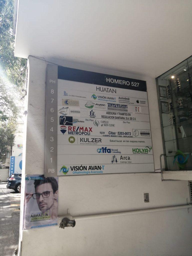 Bufete de Consultoría, Asesoramiento y Análisis de Laboratorio SC registró como domicilio fiscal una oficina virtual en Polanco, Ciudad de México. Crédito: Elizabeth Rosales.
