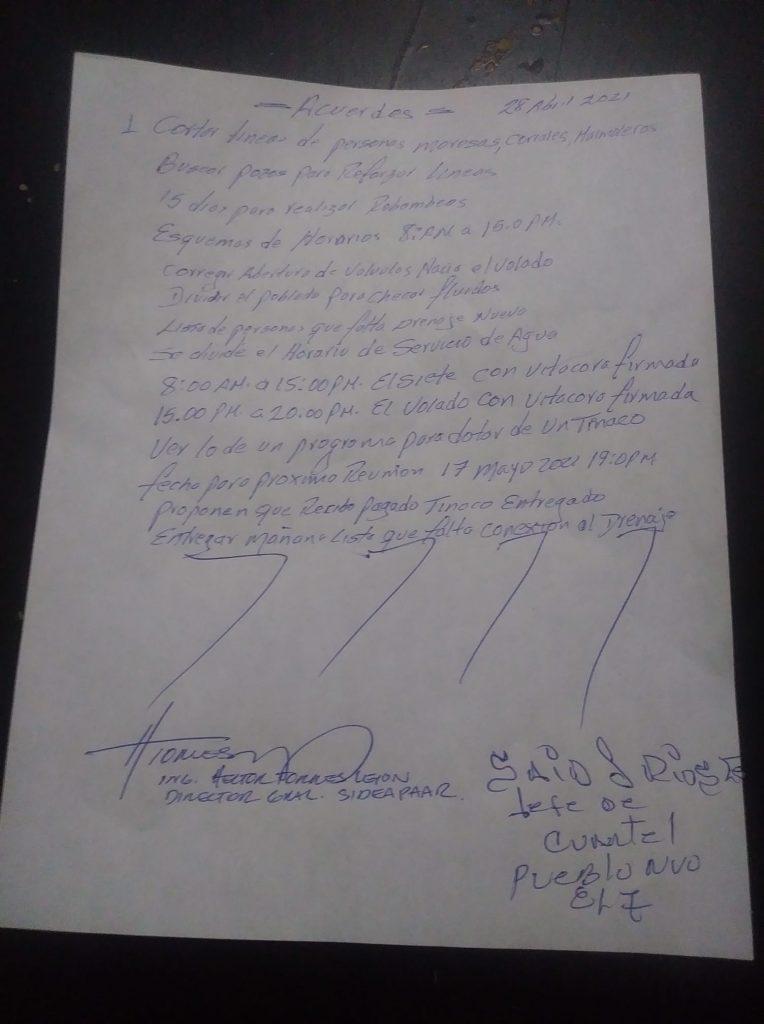 Acuerdos pueblo nuevo SIDEAPA